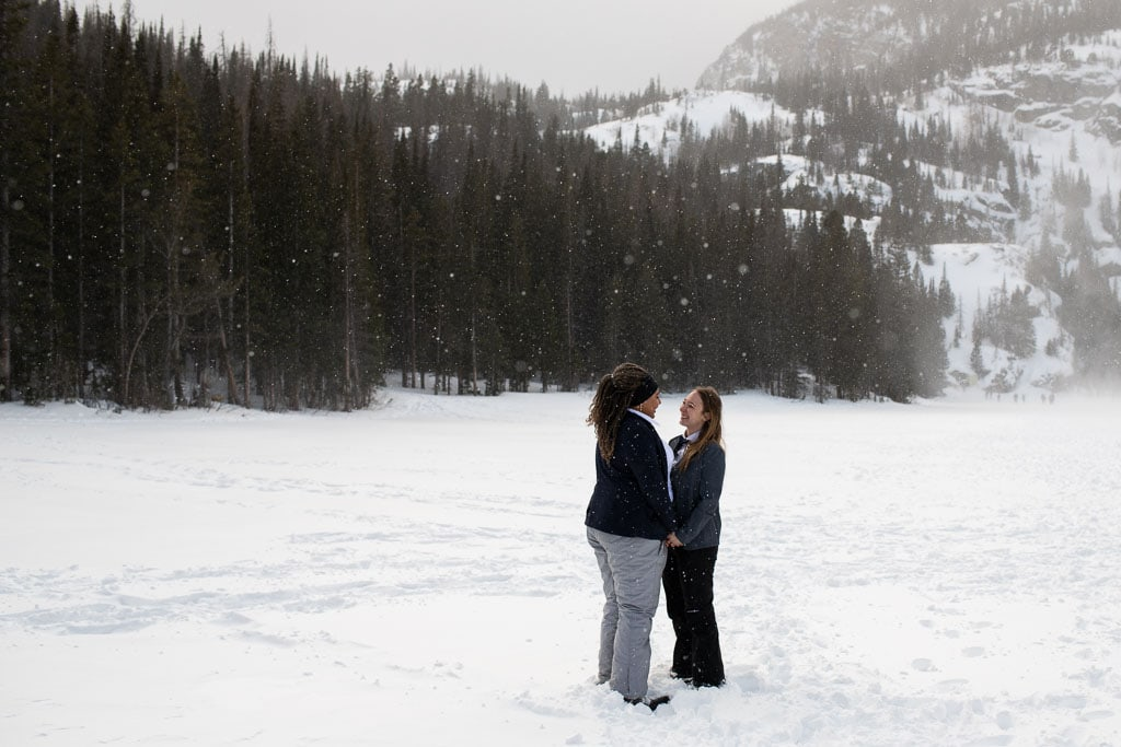 Lesbian couple eloping in Rocky Mountain National Park in Colorado