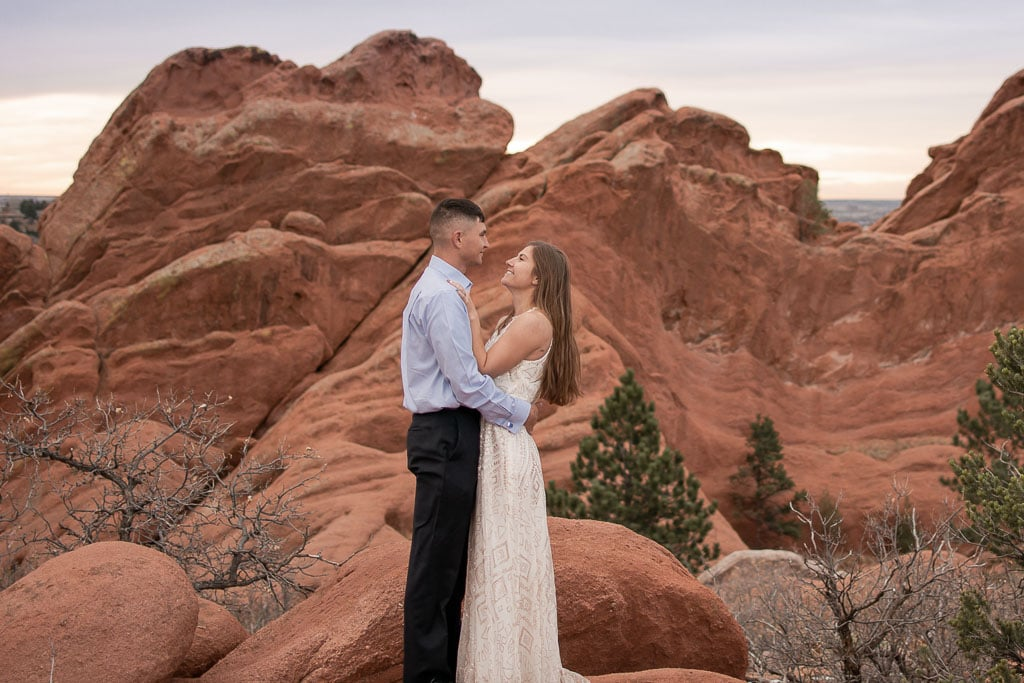 Bride looking at groom during elopement at Garden of the Gods