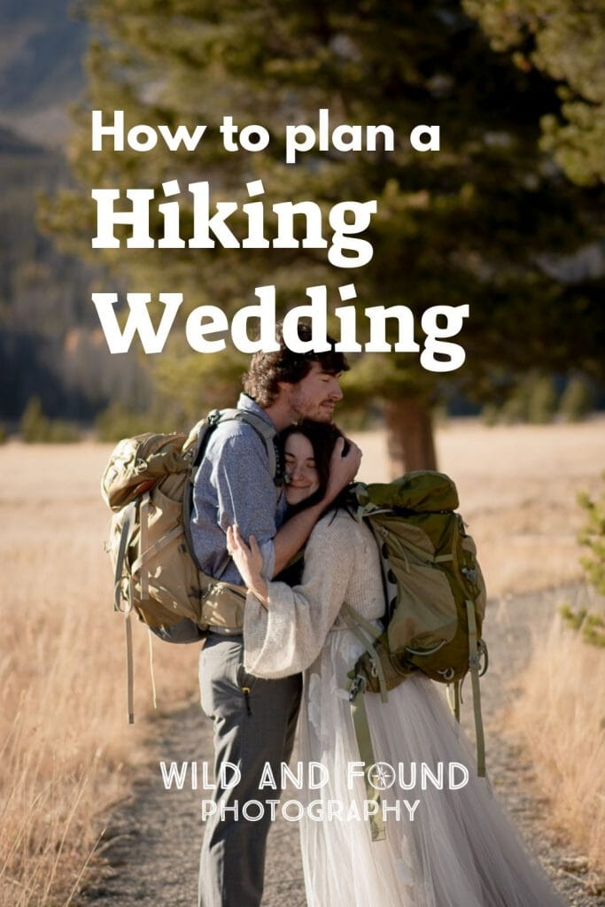 Couple hugging each other on their hiking wedding in Colorado