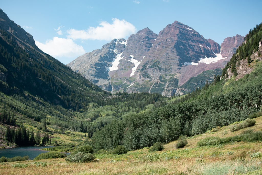 Maroon Bells in Colorado on a sunny summer day