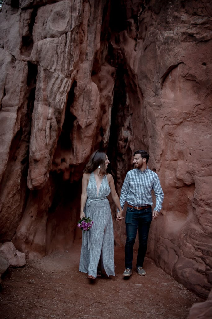 Private elopement in front of red rock formations at Garden of the Gods