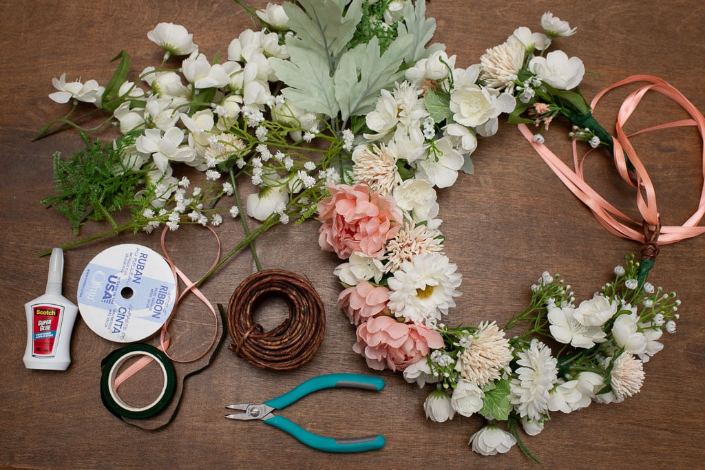 Flower crown and craft supplies including floral tape ribbon super glue craft wire and flowers