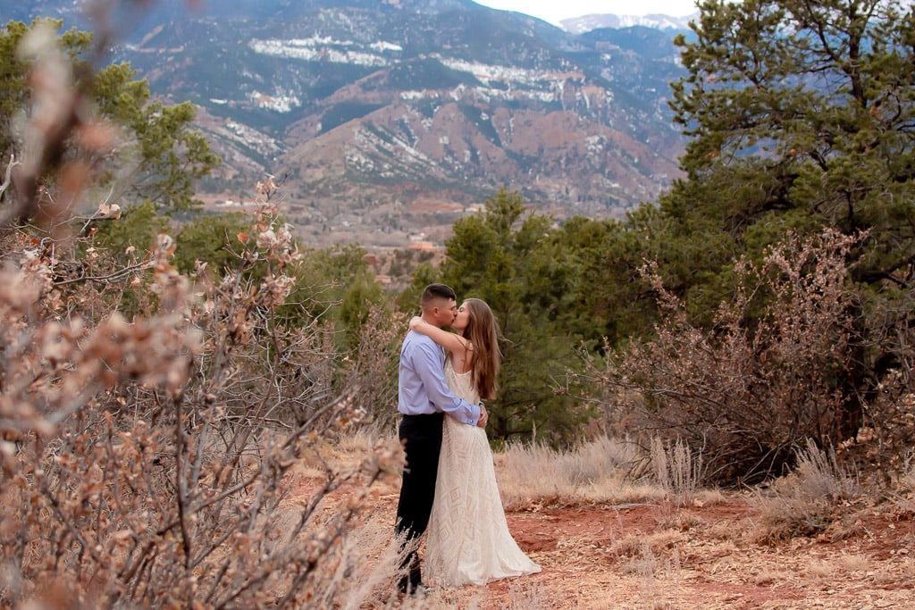 Colorado Springs elopement in the fall with mountains in the background