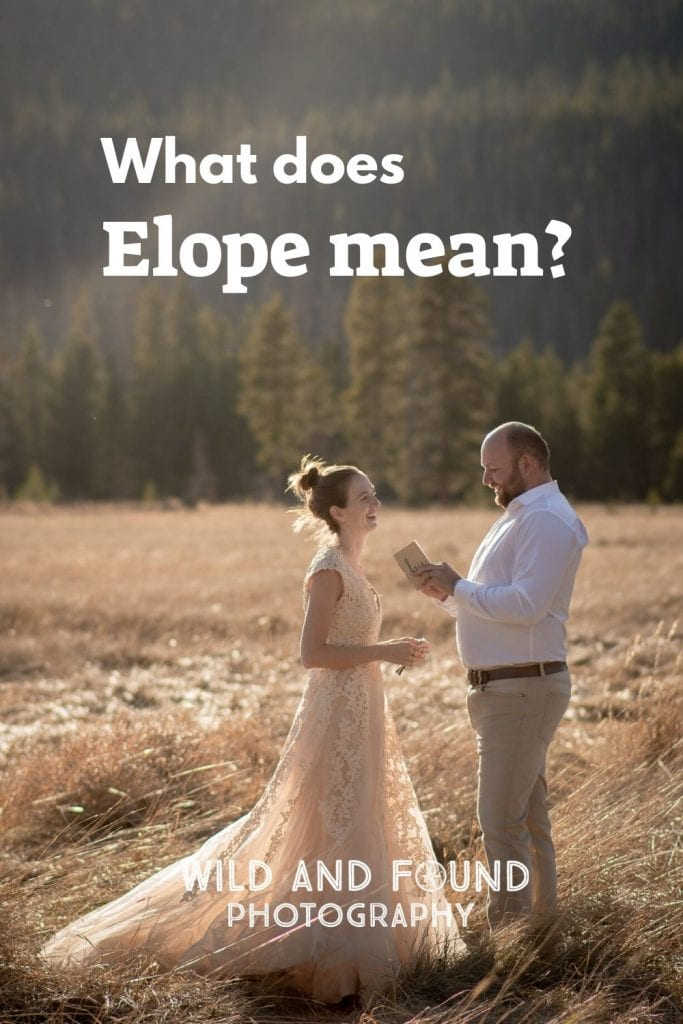 Eloping bride and groom standing in a field with What Does Elope Mean? text on the image