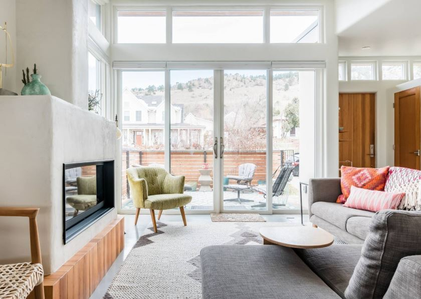 Modern Airbnb with trendy furniture and decor and a patio with views near Boulder Colorado