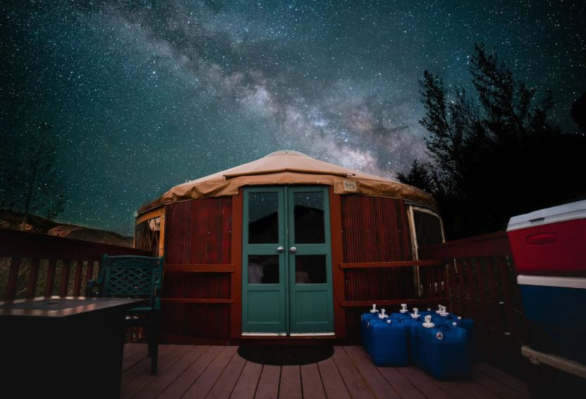 Airbnb glamping yurt in Western Colorado with starry night skies