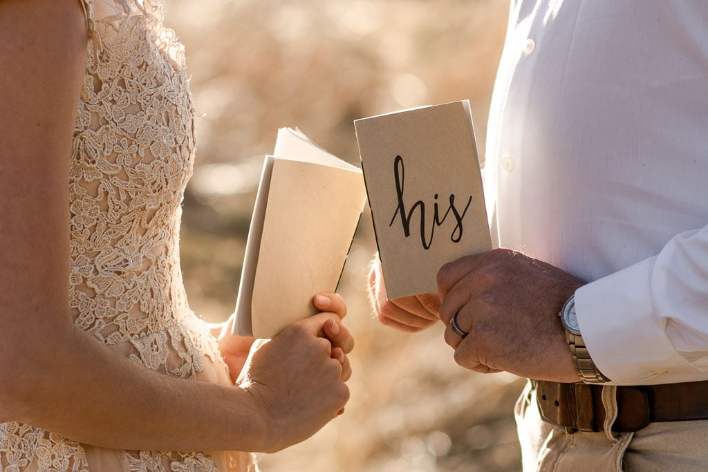 Eloping couple holding their vow books in a golden grassy field