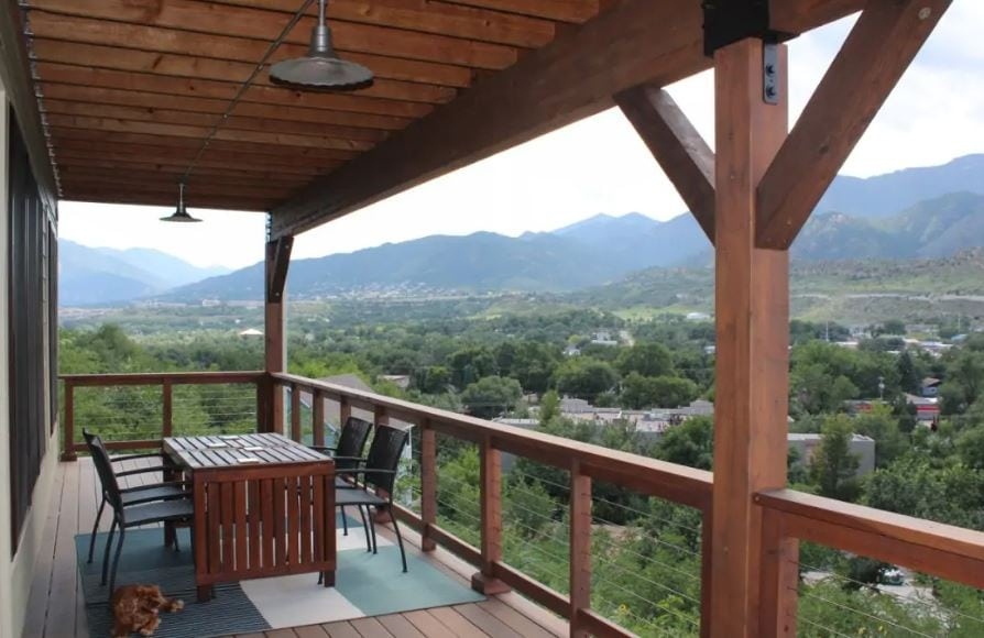 Colorado Springs Airbnb with mountain views and wooden deck