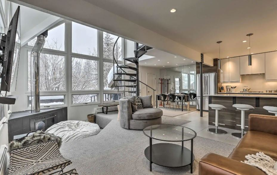 Modern white Airbnb for rent in Vail Colorado