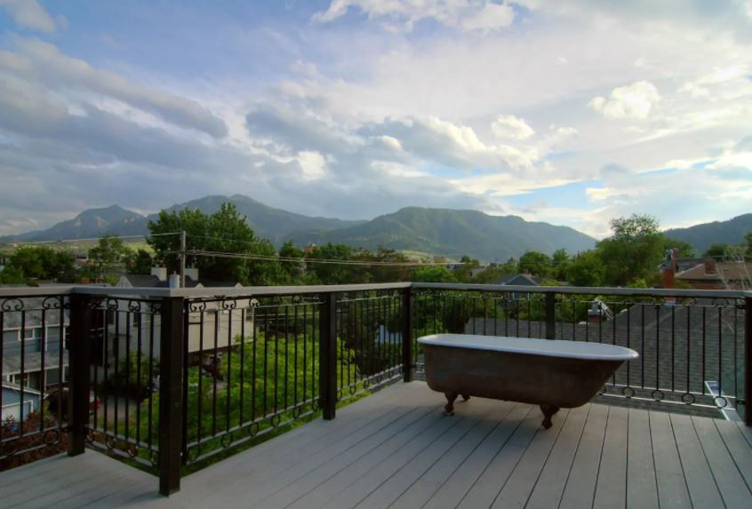 Patio with mountain views at Boulder Airbnb