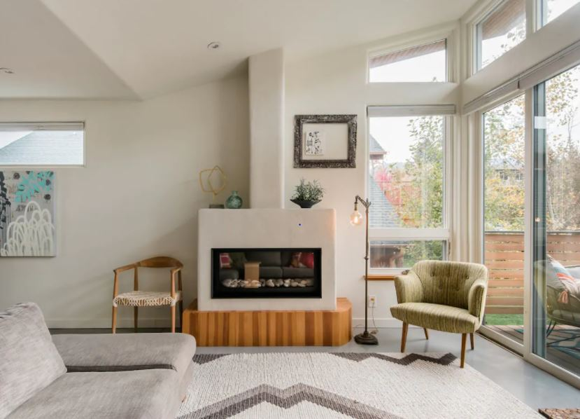 Retro chic decorated living room on Airbnb near Boulder Colorado