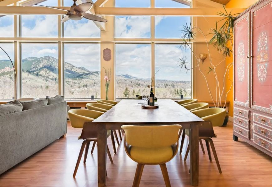 Luxury home on Airbnb with views of the foothills and elegant decorations