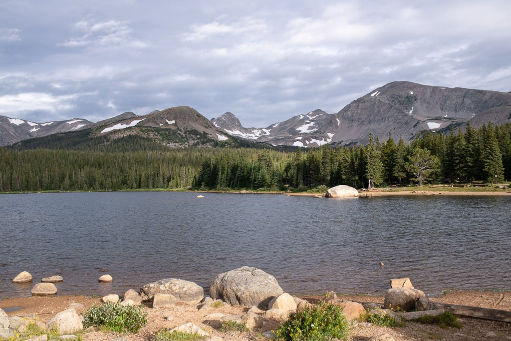 Shore of Brainard Lake one of the best places to elope in Boulder Colorado