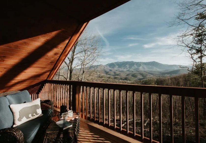 Patio of Gatlinburg Tennessee Airbnb with mountain views
