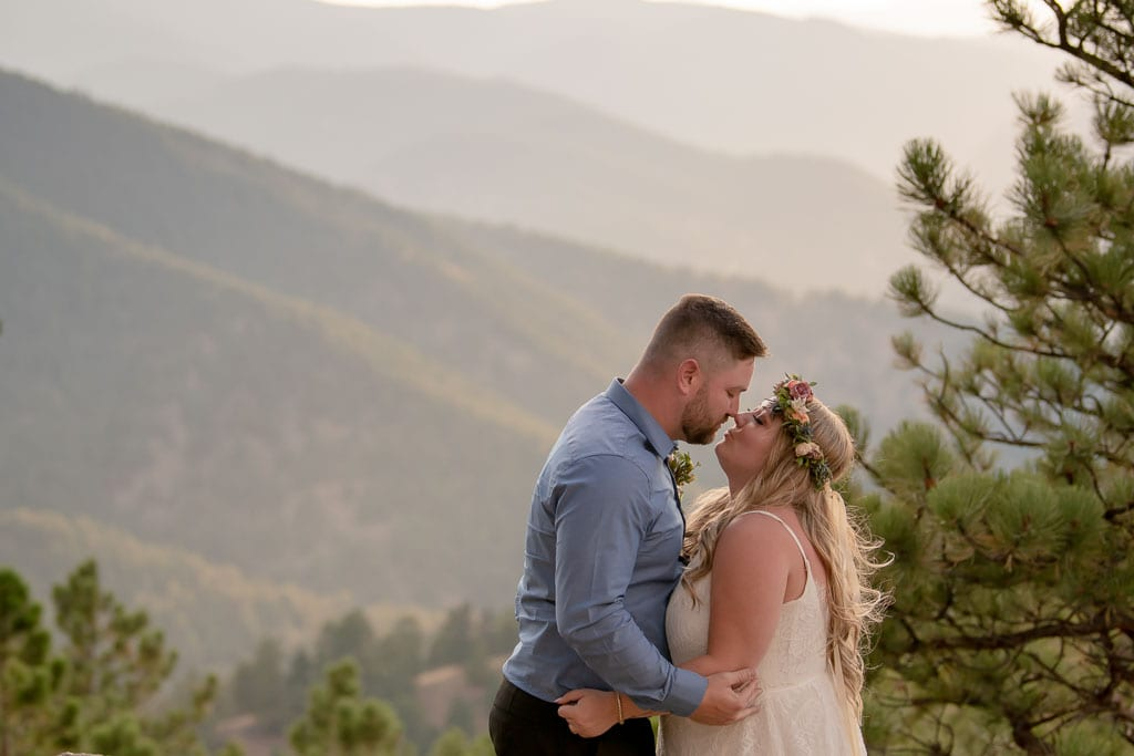Bride and groom kissing in the Smoky Mountains during their Gatlinburg elopement