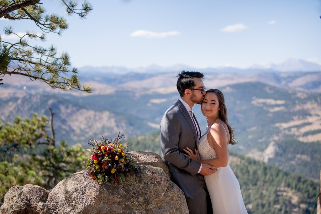 Couple eloping at Lost Gulch Lookout location in Colorado