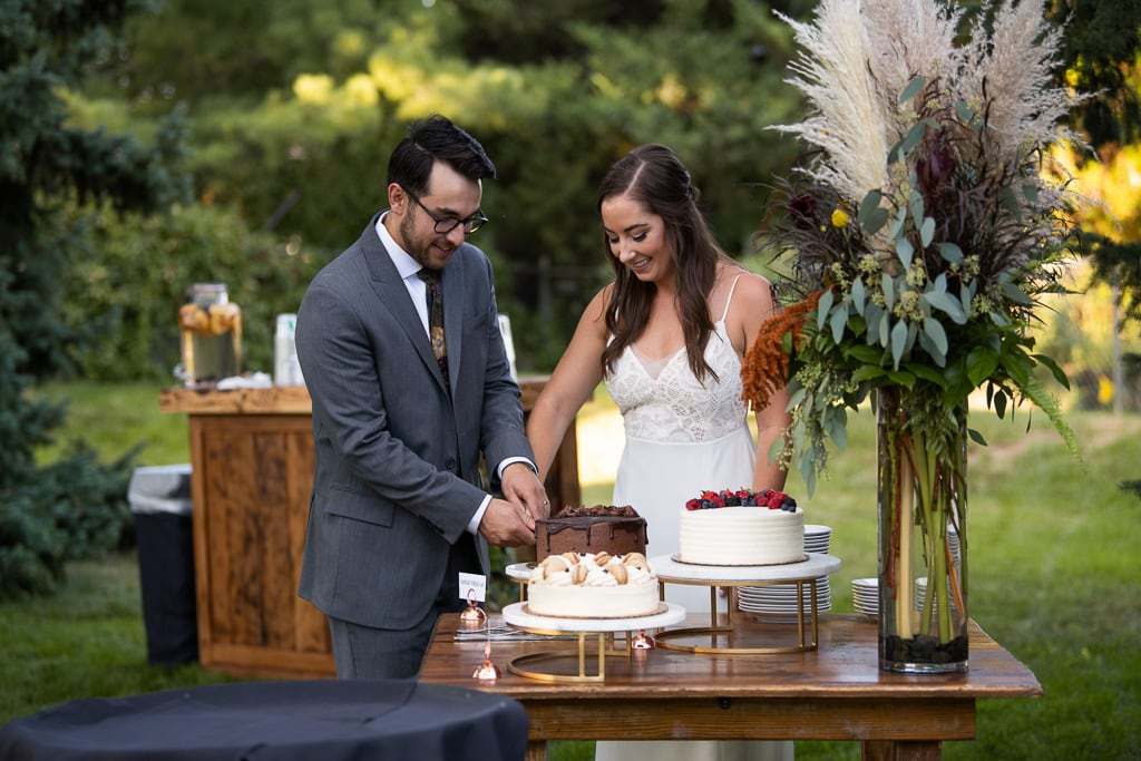 Couple cuts their cake at a Florida Airbnb wedding