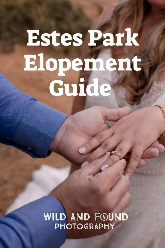 Estes Park elopement guide cover photo with man putting wedding ring on woman's finger