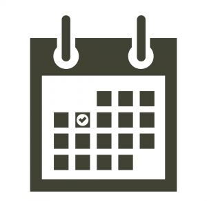 Icon of calendar with a check mark on one of the days