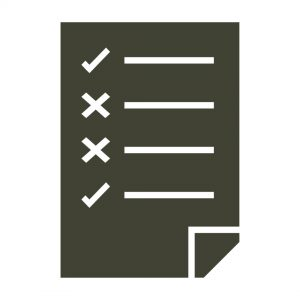Icon of piece of paper with check mark list