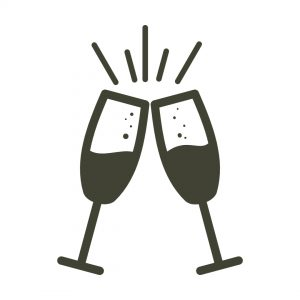 Icon of two champagne glasses clinking together