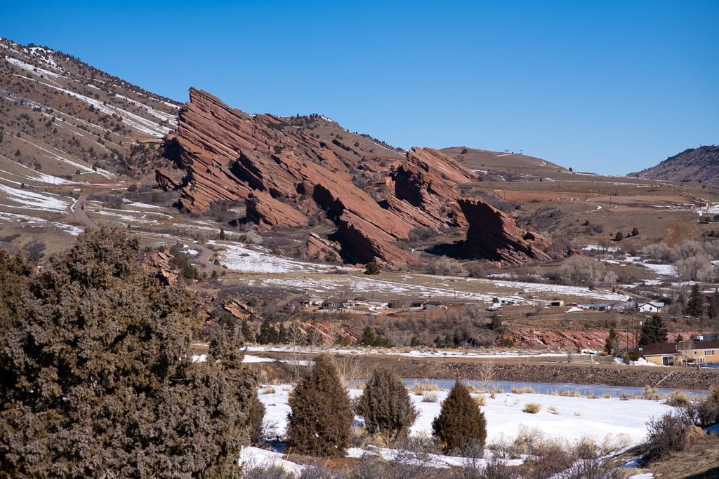 View of Red Rocks Park and Amphitheater from Mount Falcon East trails in Colorado
