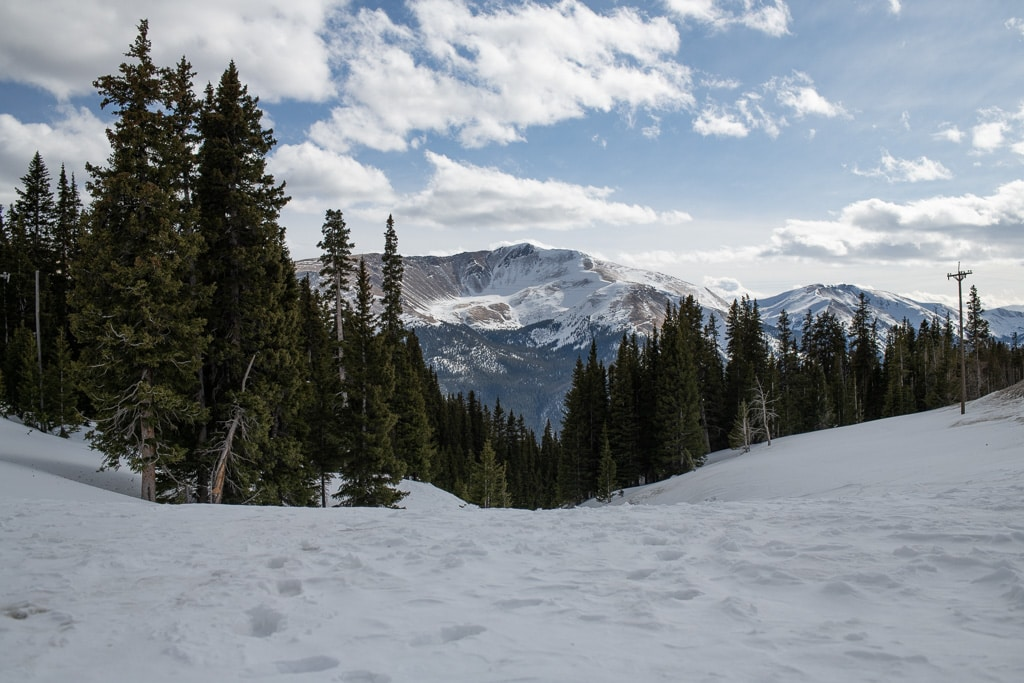 Berthoud Pass covered in snow on a sunny day