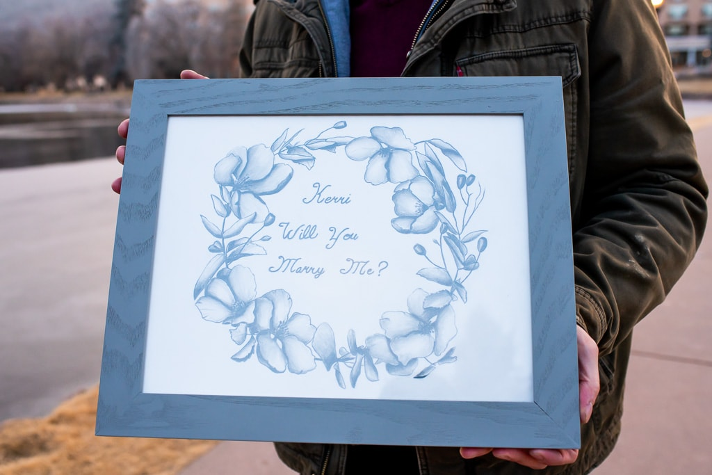 """Framed hand made drawing of a circle of flowers and the words """"Kerri Will You Marry Me?"""""""