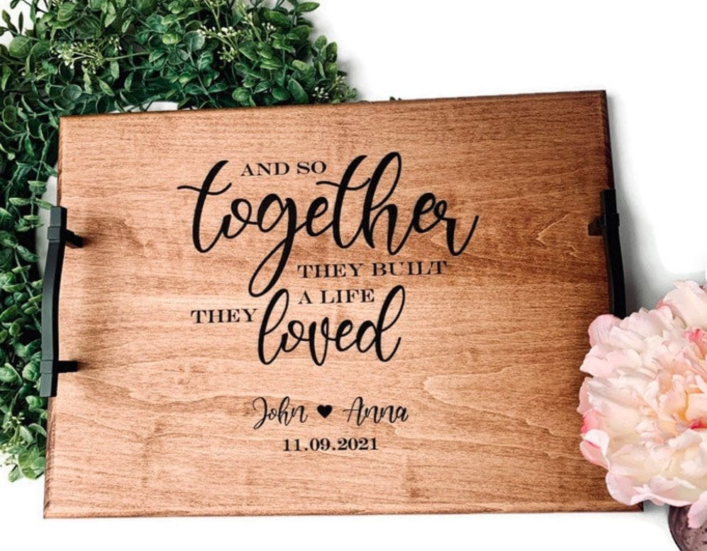 Wooden breakfast tray engraved with a custom message