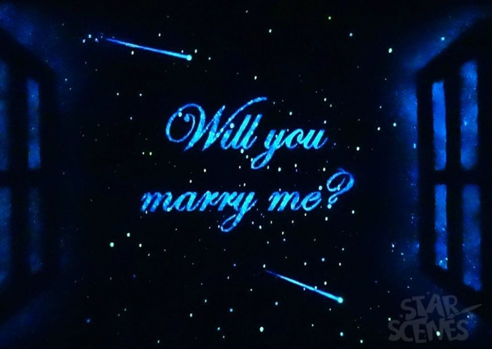 Glow in the dark stars and the words Will You Marry Me?