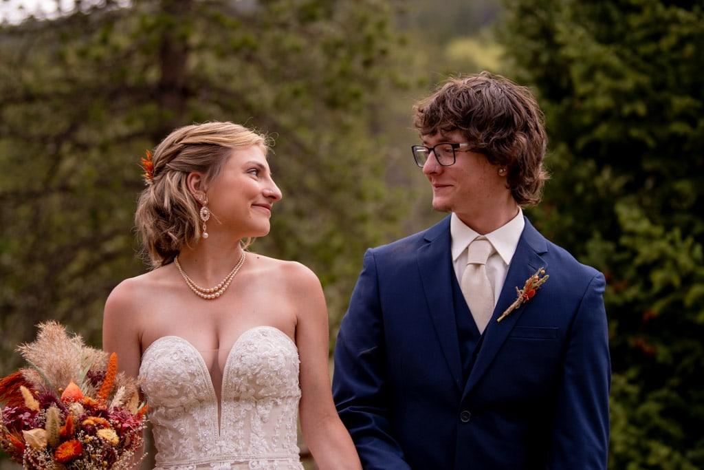 Bride and groom eloping in Colorado
